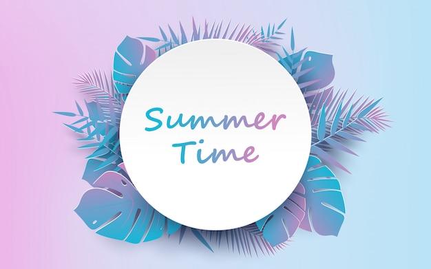 Trendy de zomer tropisch en palmbladen vector Premium Vector