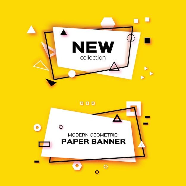 Trendy geometrische elementen voor citaat. frames in papierstijl. Premium Vector