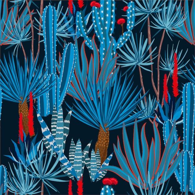 Trendy hand tekenen cactus plant en bloemen naadloze patroon. Premium Vector