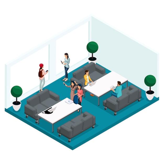 Trendy isometrische mensen en gadgets, kamer coworking center, kantoorwerk en discussies, stijlvol interieur, werkomgeving Premium Vector