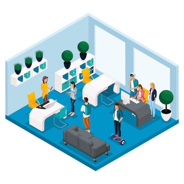 Trendy isometrische mensen en gadgets, kamer coworking center, ruimte voor creatief werken en spelen, stijlvol interieur, laptop, werken Premium Vector