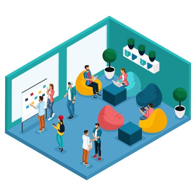 Trendy isometrische mensen en gadgets, kamer coworking center, ruimte voor ontspanning en discussie, zachte krasla peer, werken Premium Vector