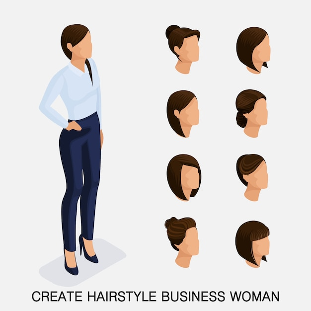 Trendy isometrische set, kapsels voor vrouwen. jonge zakenvrouw, kapsel, haarkleur, geïsoleerd. Premium Vector