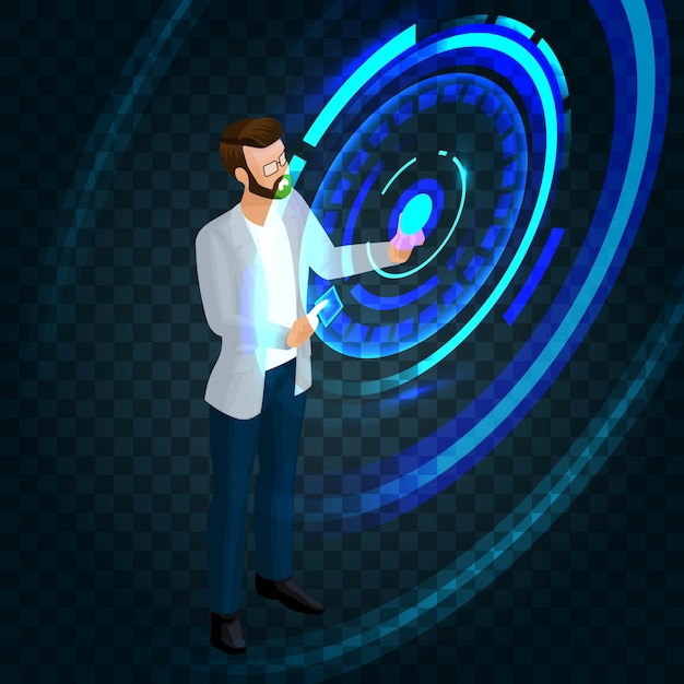 Trendy isometrische stijlvolle zakenman bezig met de toekomst van het scherm, druk op een knop, maak zakelijke ideeën Premium Vector