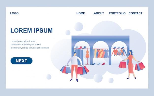 Trendy kledingwinkel platte paginasjabloon Premium Vector