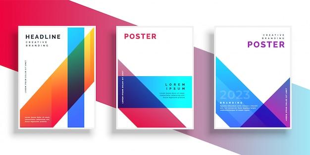 Trendy kleurrijke geometrische brochure folderontwerp Gratis Vector