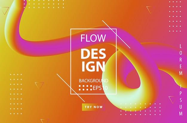 Trendy kleurverloop met abstracte vloeiende vormen Premium Vector
