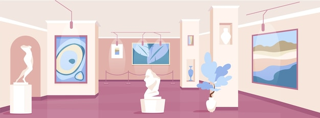 Trendy kunstgalerie egale kleur illustratie Premium Vector