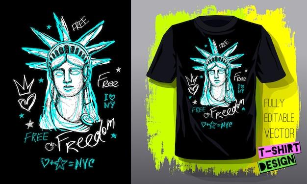 Trendy t-shirt sjabloon, mode t-shirtontwerp, helder, zomer, coole slogan belettering. kleur potlood, marker, inkt, pen doodles schets stijl. hand getekende illustratie Premium Vector