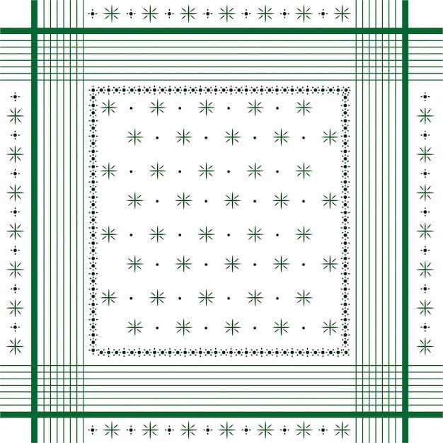 Trendy vector ornament minimale bandana print, zijden halsdoek of hoofddoek vierkante patroon ontwerpstijl voor mode, stof en alle prints gremm lijn Premium Vector