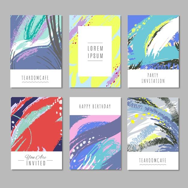 Trendy vectorachtergronden met hand getrokken texturen en abstracte vormen. mode decorcollectie Premium Vector