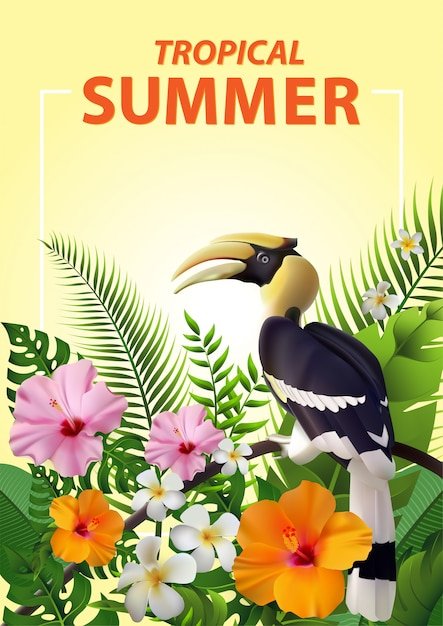 Trendy zomer tropical Premium Vector