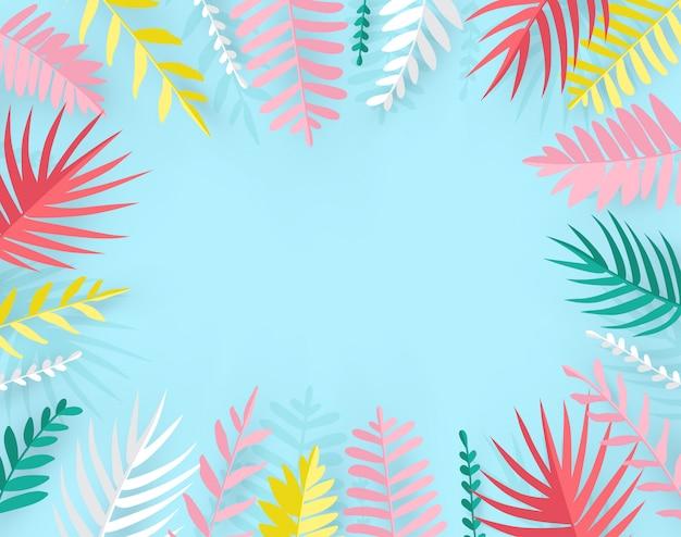 Trendy zomer tropische palmbladen in papier gesneden stijl. Premium Vector