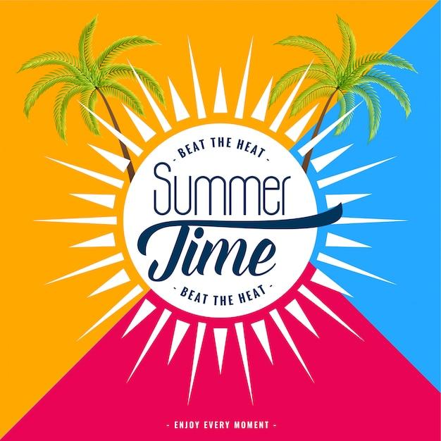 Trendy zomertijd banner Gratis Vector