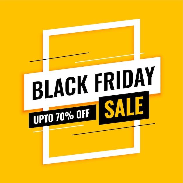 Trendy zwarte vrijdag verkoop banner op geel Gratis Vector