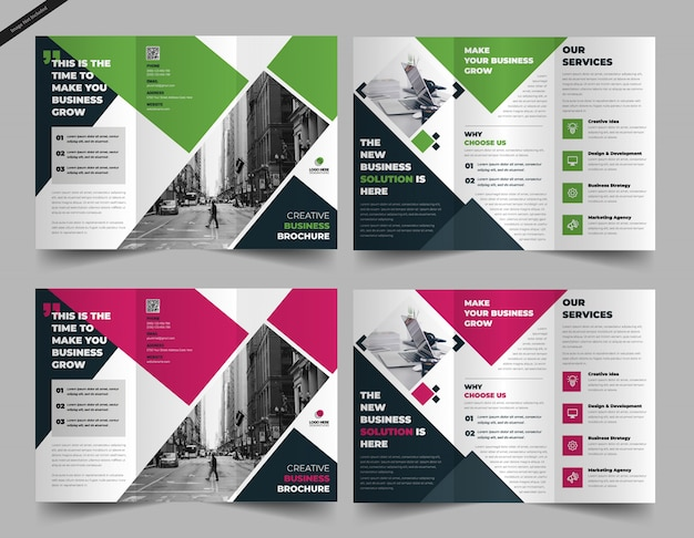 Tri fold brochure template Premium Vector