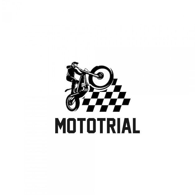 Trial motorfiets kampioenen logo Premium Vector