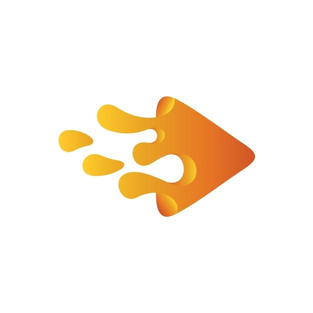 Triangle paint water logo, liquid play-logo Premium Vector
