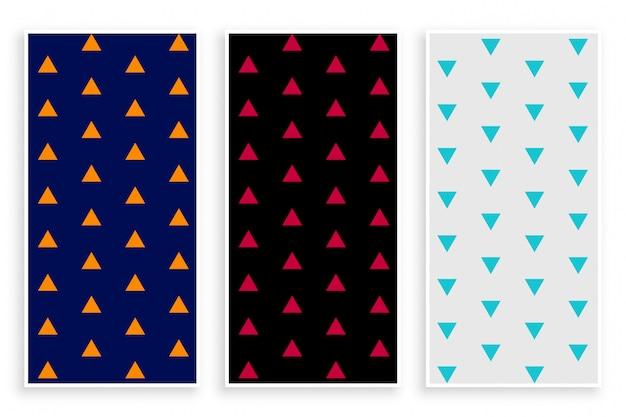 Triangle repeat pattern banner set Gratis Vector