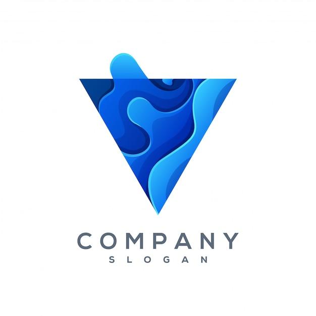 Triangle wave logo vector klaar voor gebruik Premium Vector