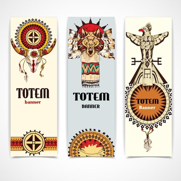 Tribal banners verticaal Premium Vector