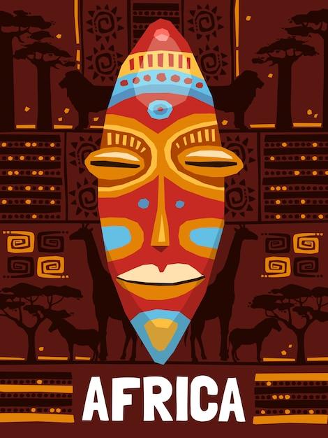 Tribal etnische masker sjabloon Gratis Vector