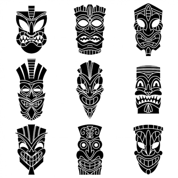 Tribal tiki masker zwarte silhouetten vector set. Premium Vector