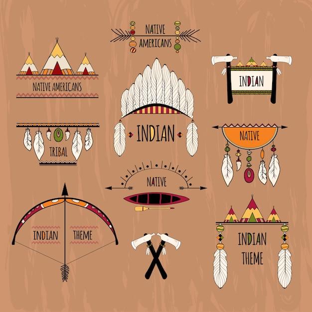 Tribale labels instellen gekleurd Gratis Vector