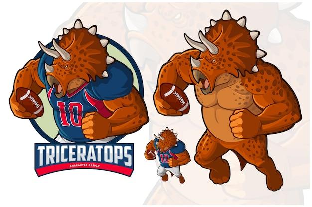 Triceratops character design voor american footbal en rugby Premium Vector