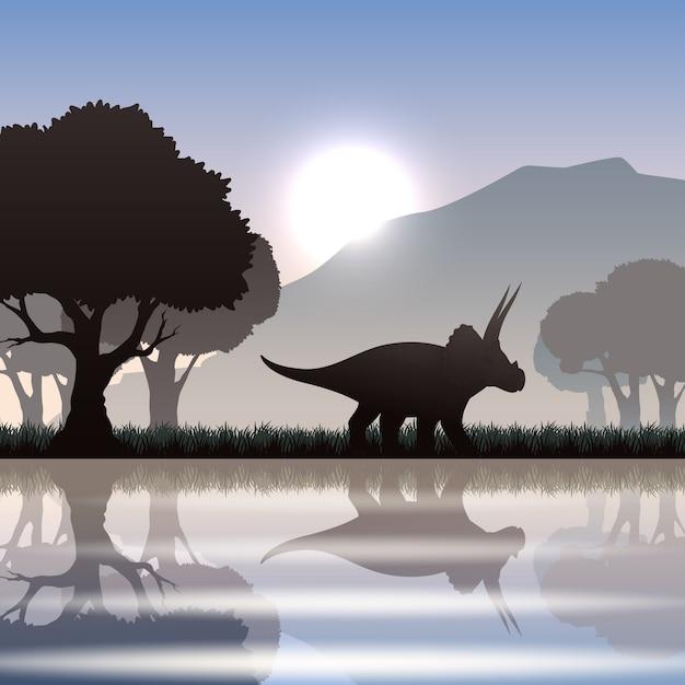 Triceratops dinosaurussilhouet in toneellandschap met meerberg en reuzebomen Gratis Vector