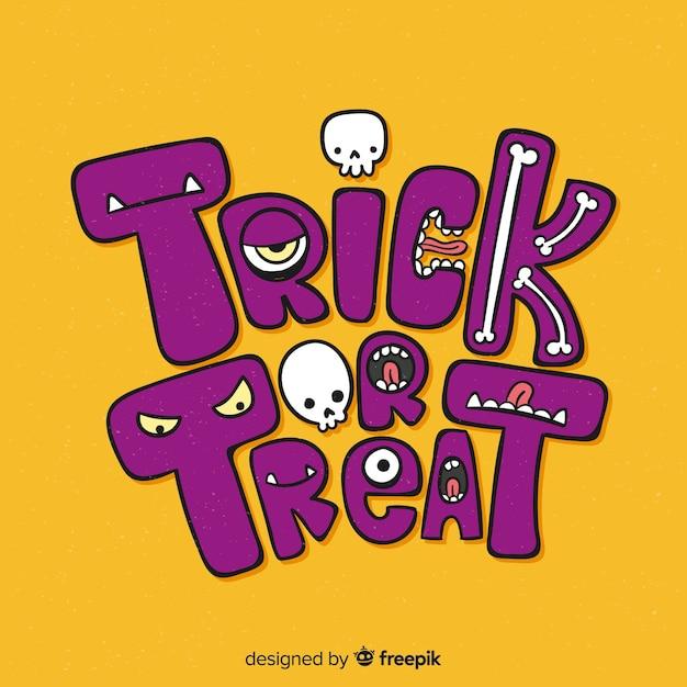 Trick or treat belettering achtergrond Gratis Vector