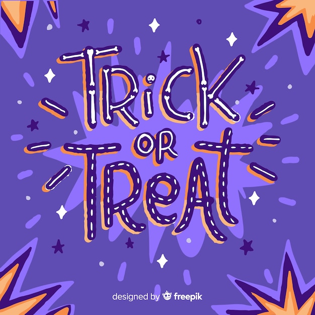 Trick or treat belettering cartoon lettertype Gratis Vector
