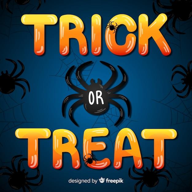 Trick or treat-belettering met zwarte spin Gratis Vector