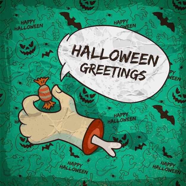 Trick or treat halloween-sjabloon met toespraak wolk zombie arm snoep traditionele pictogrammen naadloze patroon Gratis Vector