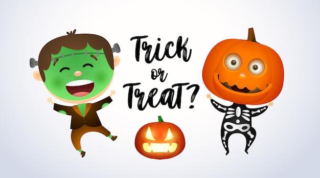 Trick or treat, kinderen in zombie- en pompoenkostuums Gratis Vector