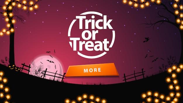 Trick or treat, paarse wenskaart met knop en halloween-landschap o Premium Vector