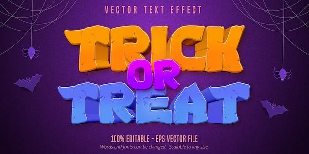 Trick or treat-tekst, bewerkbaar teksteffect in halloween-stijl op paarse gestructureerde achtergrond Premium Vector