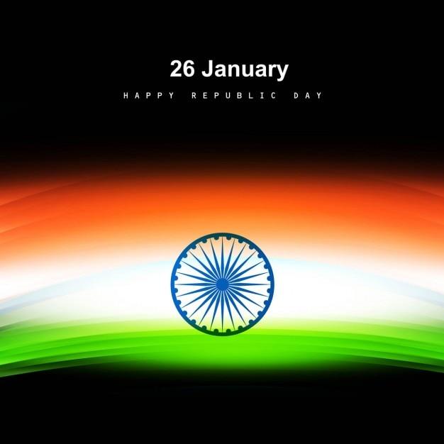 Tricolor glanzende indiase vlag kaart Gratis Vector