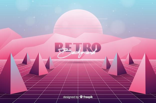 Tridimensionale geometrische retro futuristische achtergrond Gratis Vector