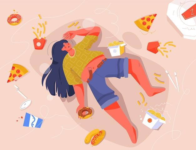 Triest dikke vrouw fastfood eten, liggend op de vloer Premium Vector