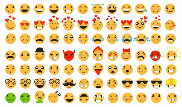Triest en blij emoticons ingesteld Gratis Vector