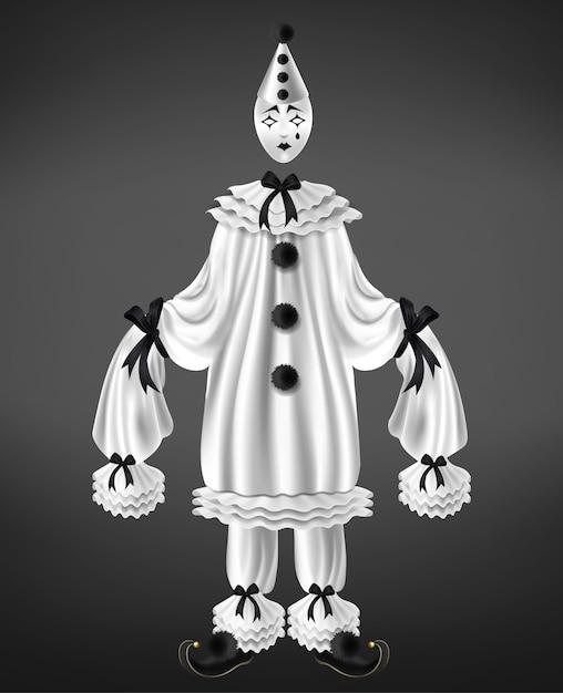 Triest harlekijn wit pak met zwarte strikken en pompoms, lange mouwen, gedraaide schoenen, scheur Gratis Vector