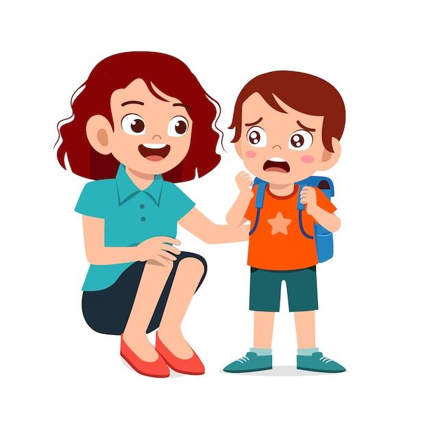 Triest huilende jongen jongen met moeder glimlach Premium Vector