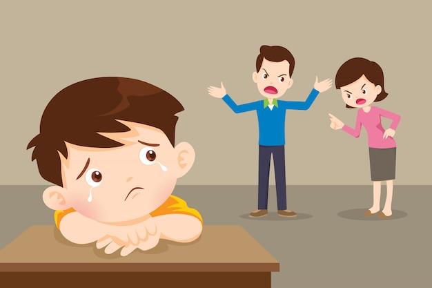 Triest kind met boze vader en moeder ruzie Premium Vector