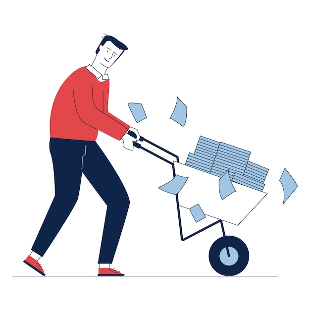 Triest werknemer rijdende kar met papieren Gratis Vector