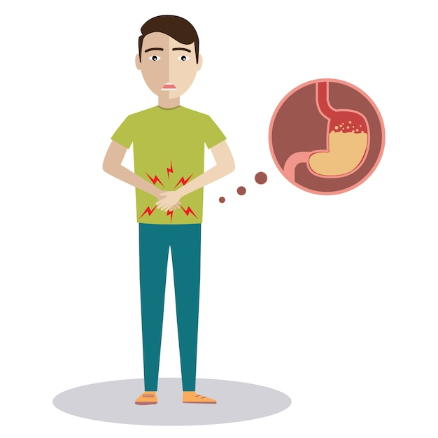 Triest zieke jongeman met voedselvergiftiging maag karakter. Premium Vector