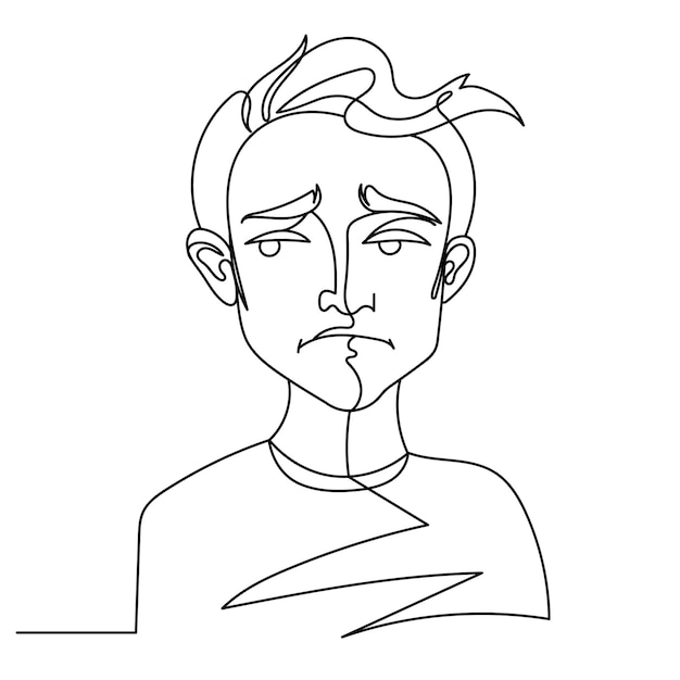 Trieste man portret één lijntekeningen. ongelukkig mannelijke gezichtsuitdrukking. hand getekend lineaire man silhouet. Premium Vector