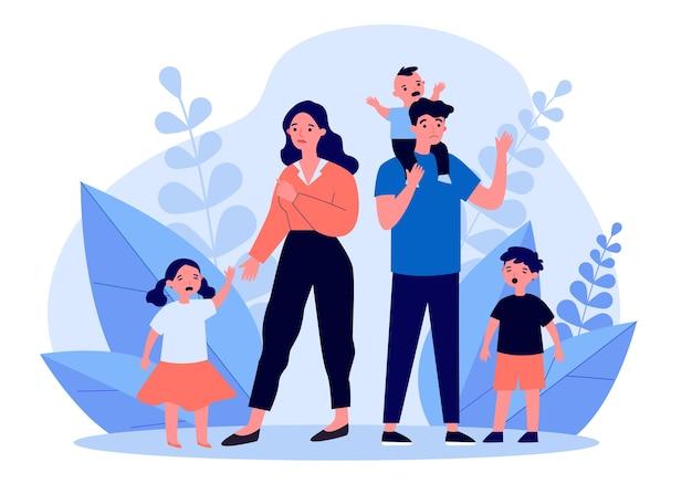 Trieste ouder staande met huilende kinderen. moeder, gedrag, moeilijkheidsillustratie. ouderschap en familieconcept voor banner, website of bestemmingswebpagina Premium Vector