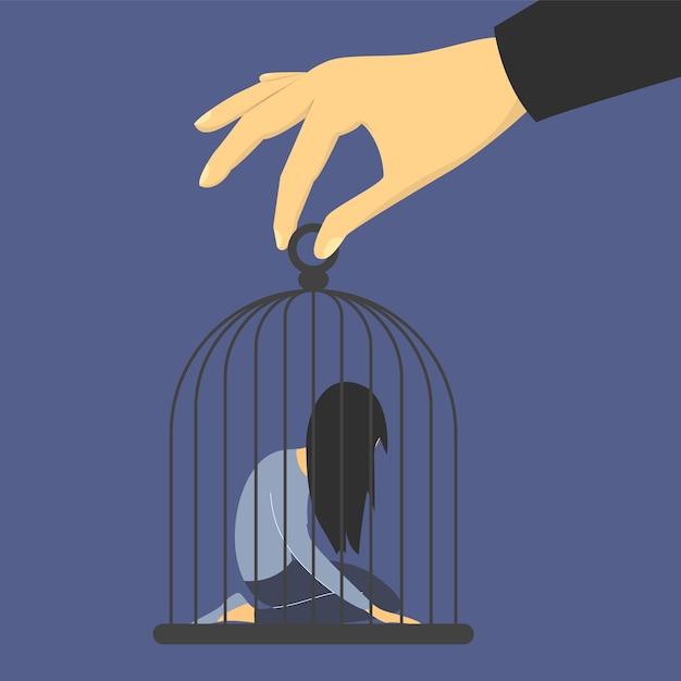 Trieste vrouw in de kooi. man misbruikt vrouw, gigantische hand met kooi geïsoleerd. meisje in depressie op knieën, gevangenis en gevangenis. Premium Vector