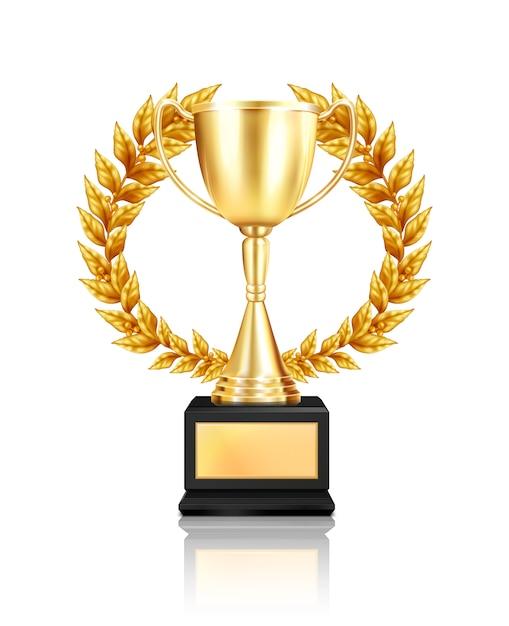 Trofee award lauwerkrans samenstelling met realistisch beeld van gouden beker versierd met slinger met reflectie Gratis Vector